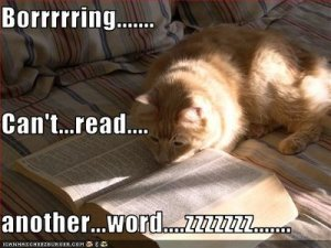 A pretty good description of me trying to read a random selection from the Paranormal Romance shelf.